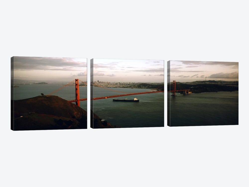 Barge passing under a bridge, Golden Gate Bridge, San Francisco, California, USA 3-piece Canvas Art Print