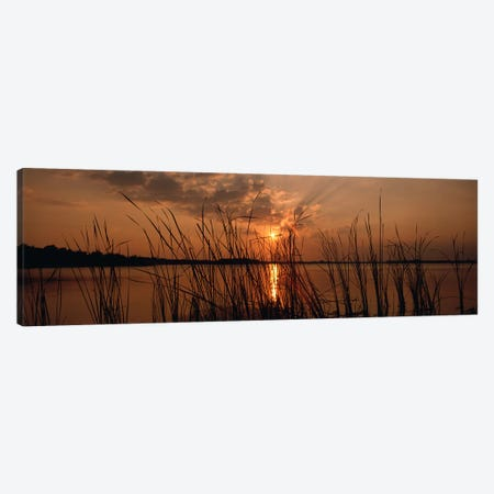 Sunset over a lake, Lake Travis, Austin, Texas Canvas Print #PIM5640} by Panoramic Images Canvas Artwork