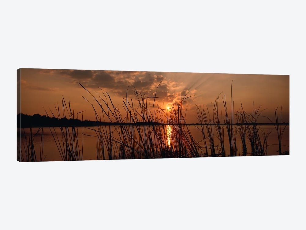 Sunset over a lake, Lake Travis, Austin, Texas by Panoramic Images 1-piece Canvas Artwork