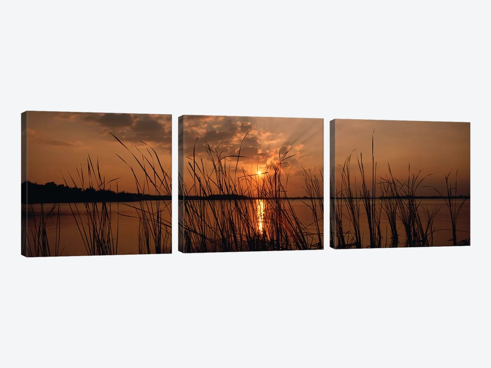 Sunset over a lake, Lake Travis, Austin, Texas by Panoramic Images 3-piece Canvas Wall Art