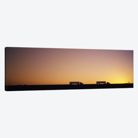 Two Semi Trucks On A Highway, Interstate 5 (I-5), California, USA Canvas Print #PIM5646} by Panoramic Images Art Print