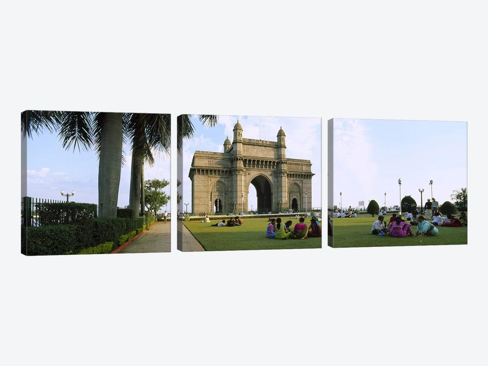 Tourist in front of a monument, Gateway Of India, Mumbai, Maharashtra, India by Panoramic Images 3-piece Canvas Art Print