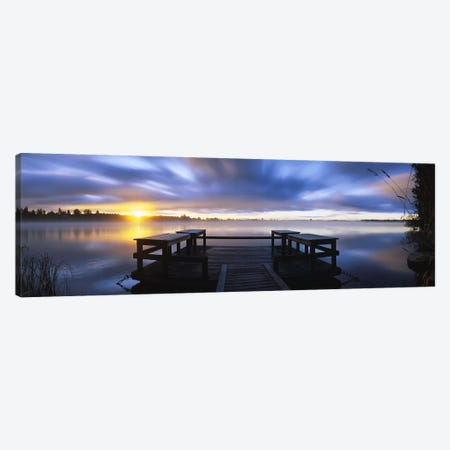 Panoramic view of a pier at dusk, Vuoksi River, Imatra, Finland Canvas Print #PIM5654} by Panoramic Images Canvas Wall Art