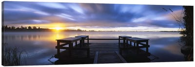 Panoramic view of a pier at dusk, Vuoksi River, Imatra, Finland Canvas Art Print