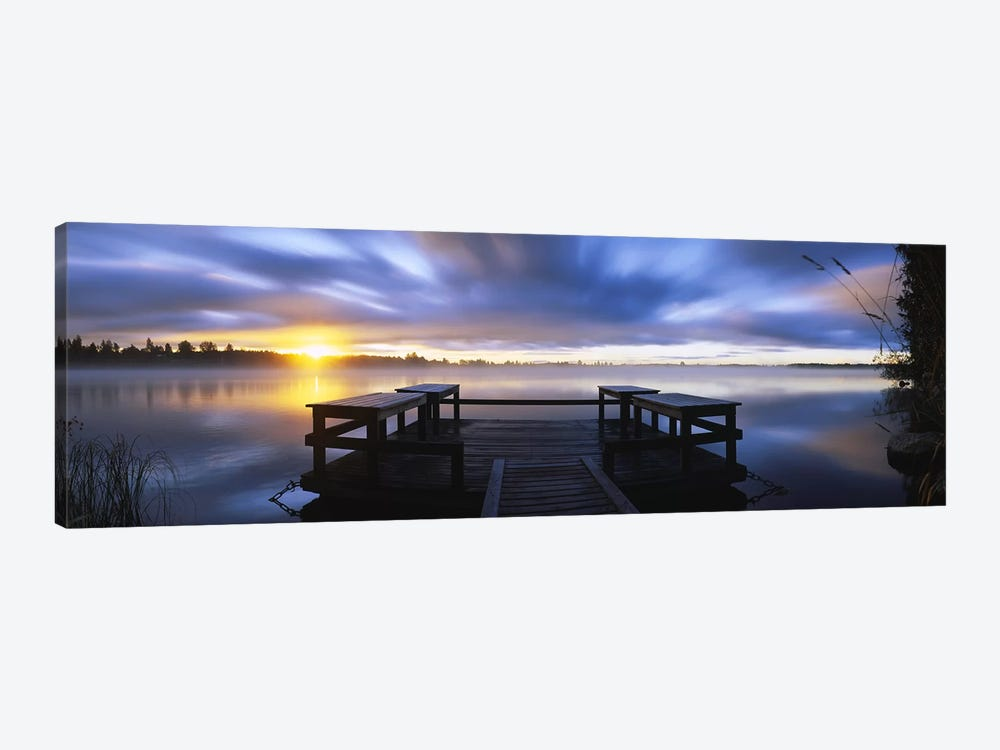 Panoramic view of a pier at dusk, Vuoksi River, Imatra, Finland by Panoramic Images 1-piece Art Print