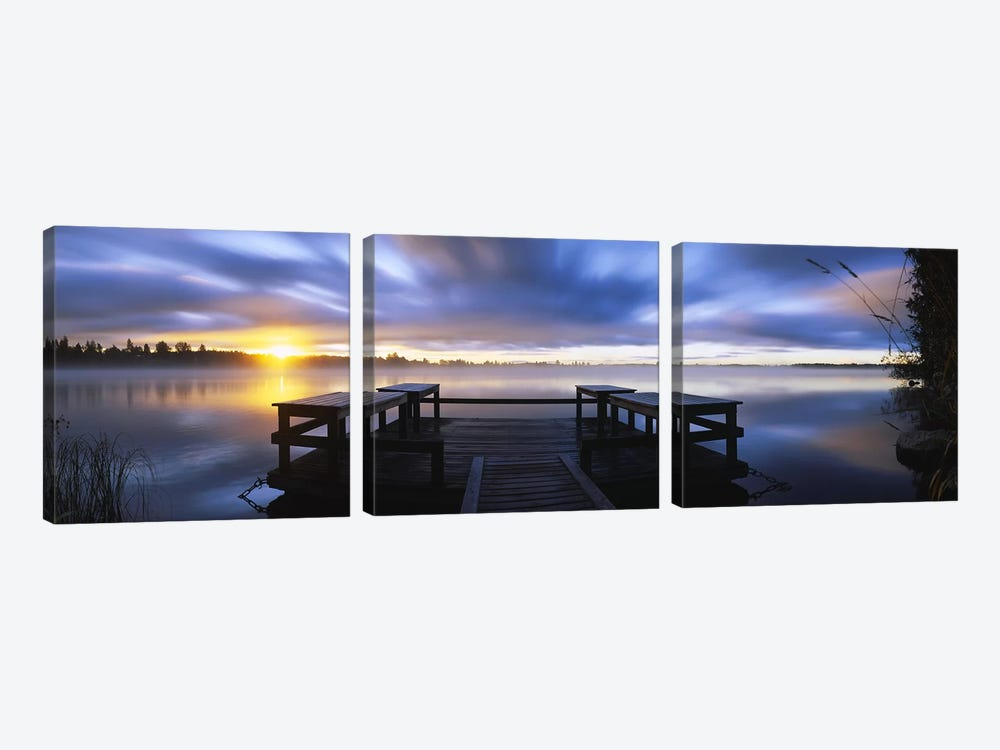 Panoramic view of a pier at dusk, Vuoksi River, Imatra, Finland by Panoramic Images 3-piece Canvas Art Print