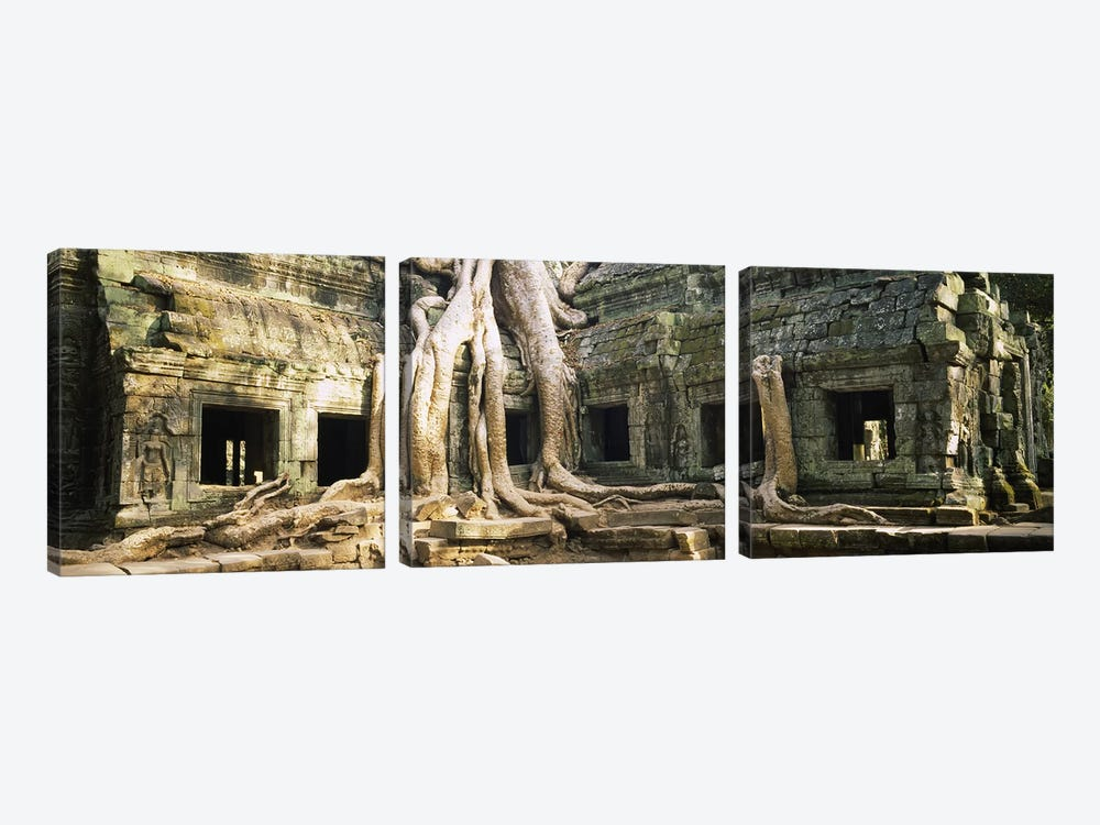 Old ruins of a building, Angkor Wat, Cambodia by Panoramic Images 3-piece Canvas Art Print