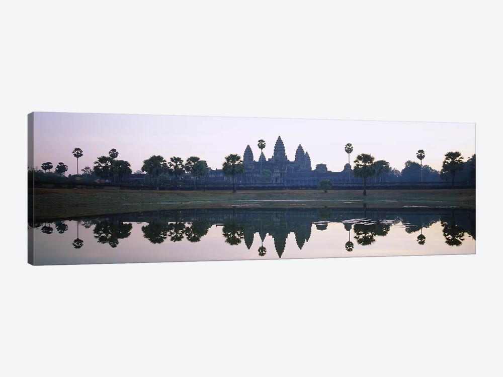 Reflection of temples and palm trees in a lake, Angkor Wat, Cambodia by Panoramic Images 1-piece Canvas Artwork