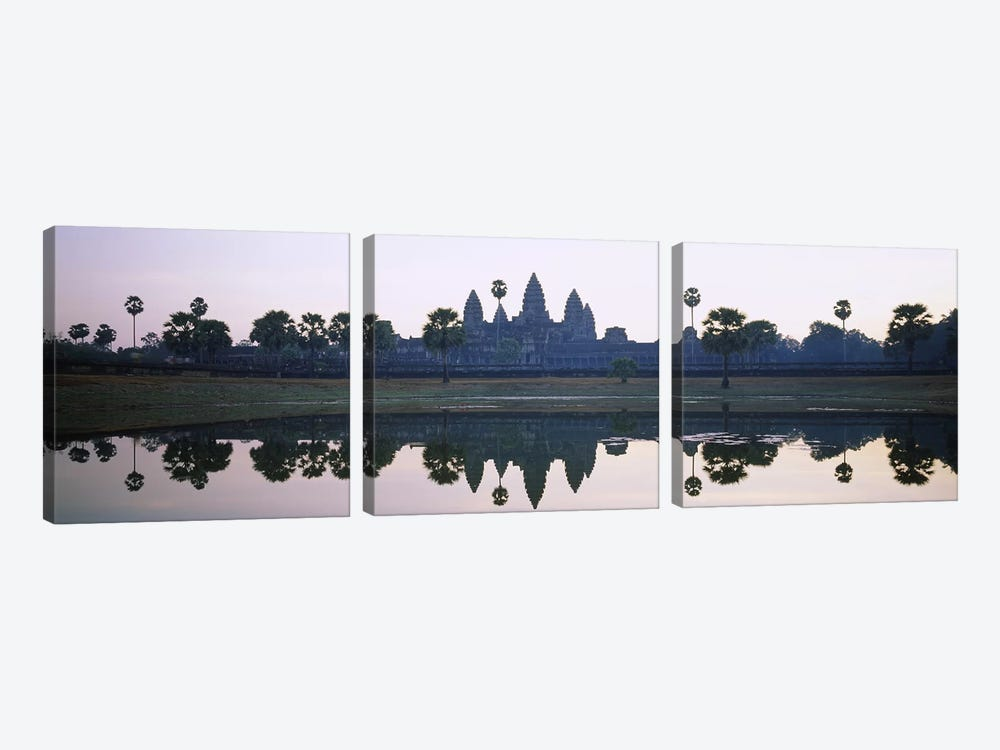 Reflection of temples and palm trees in a lake, Angkor Wat, Cambodia by Panoramic Images 3-piece Canvas Artwork