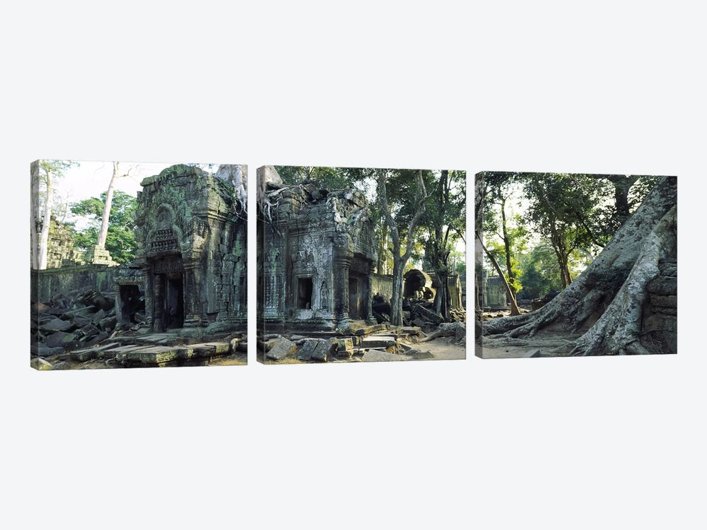 Old ruins of a building, Angkor Wat, Cambodia #2 3-piece Canvas Art Print