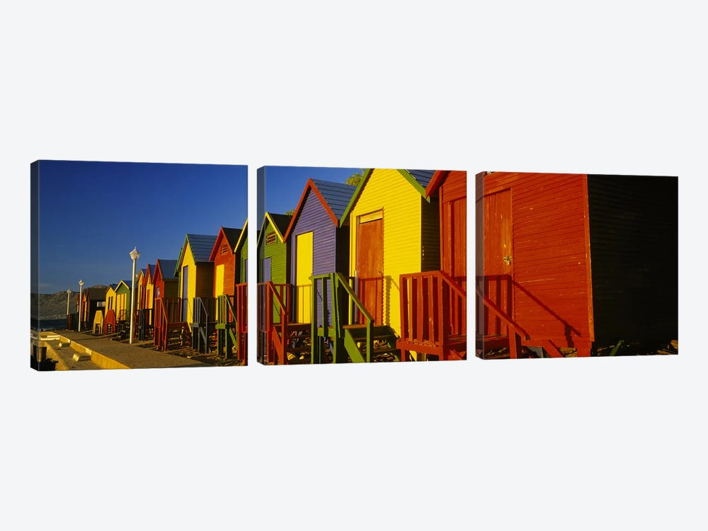 Beach huts in a row, St James, Cape Town, South Africa by Panoramic Images 3-piece Canvas Art Print
