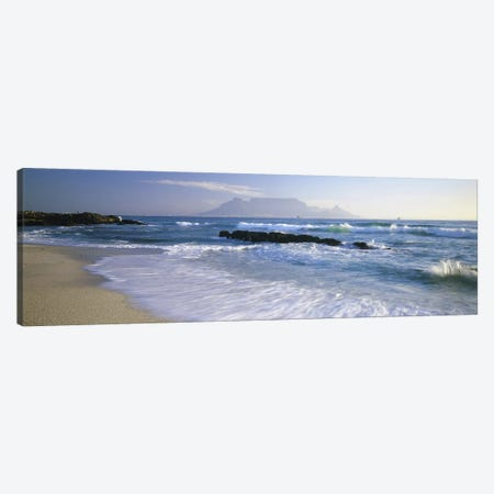 Waves On A Beach With A Distant View Of Table Mountain, Cape Town, Western Cape, South Africa Canvas Print #PIM5667} by Panoramic Images Canvas Print