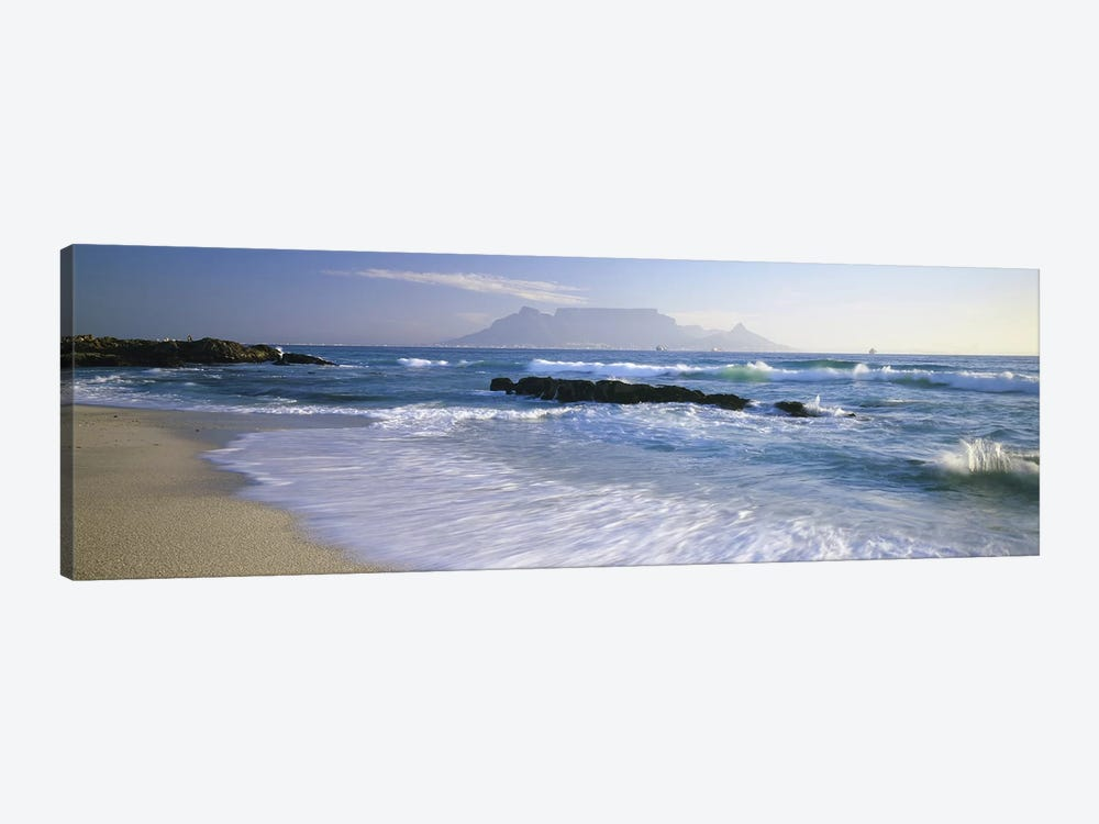 Waves On A Beach With A Distant View Of Table Mountain, Cape Town, Western Cape, South Africa by Panoramic Images 1-piece Art Print