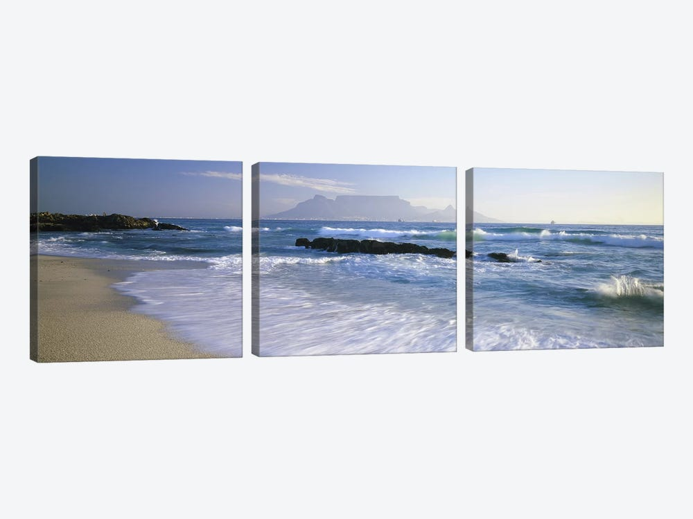Waves On A Beach With A Distant View Of Table Mountain, Cape Town, Western Cape, South Africa by Panoramic Images 3-piece Art Print