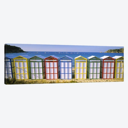 Colorful Row Of Beach Huts, Catalonia, Spain Canvas Print #PIM5680} by Panoramic Images Canvas Art