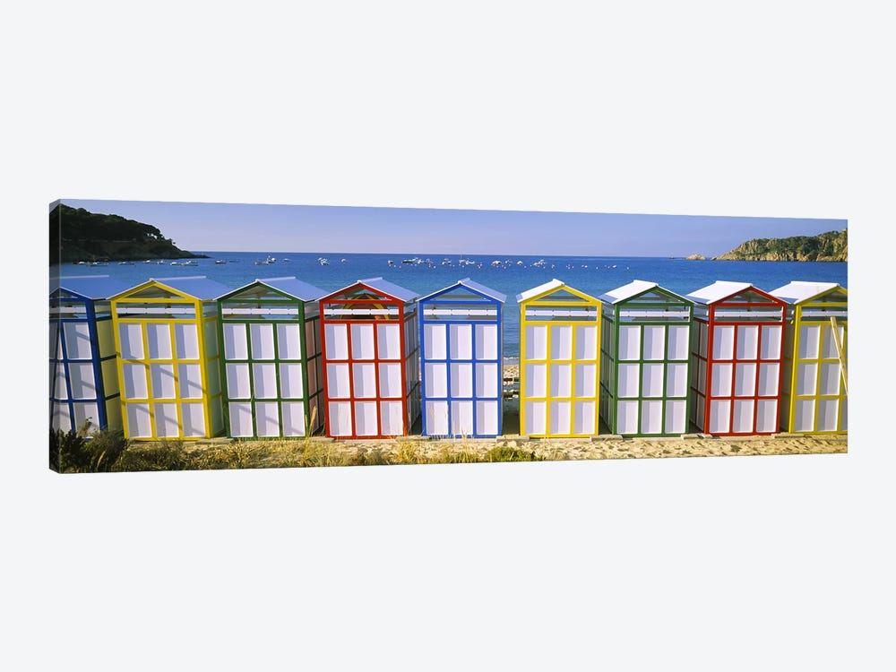 Colorful Row Of Beach Huts, Catalonia, Spain by Panoramic Images 1-piece Canvas Wall Art