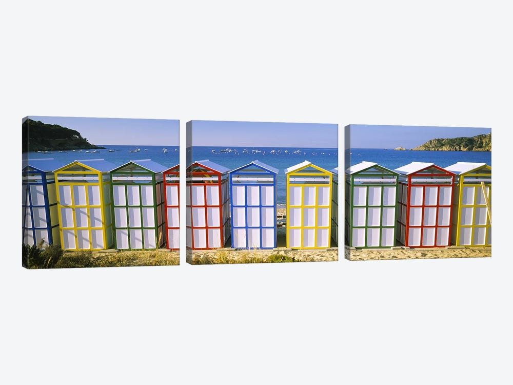 Colorful Row Of Beach Huts, Catalonia, Spain by Panoramic Images 3-piece Canvas Wall Art