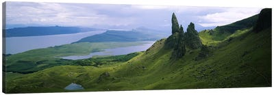 Old Man Of Storr With A High-Angle View Of Loch Leathan, Isle Of Skye, Inner Hebrides, Scotland Canvas Art Print