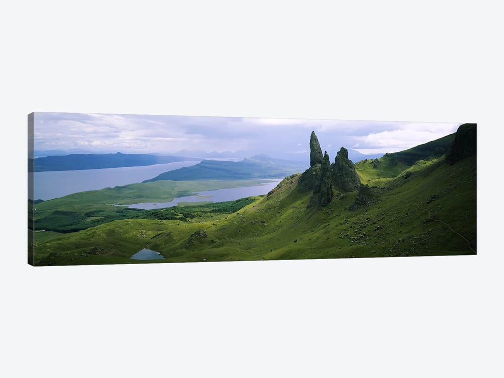 Old Man Of Storr With A High-Angle View Of Loch Leathan, Isle Of Skye, Inner Hebrides, Scotland by Panoramic Images 1-piece Canvas Art Print