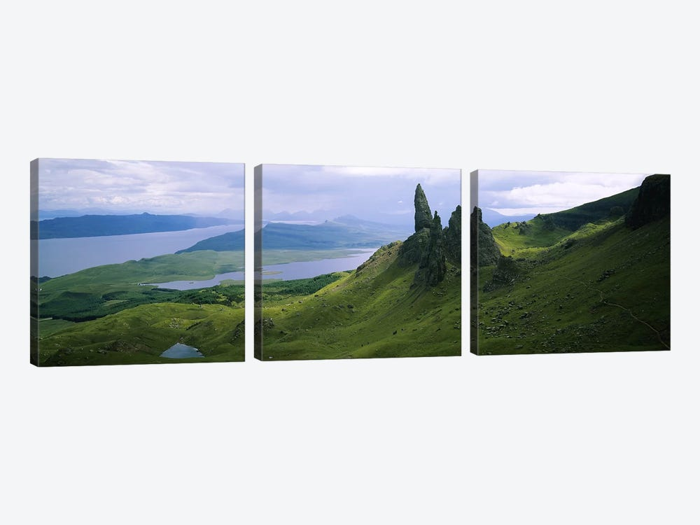 Old Man Of Storr With A High-Angle View Of Loch Leathan, Isle Of Skye, Inner Hebrides, Scotland by Panoramic Images 3-piece Canvas Art Print