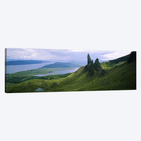 Old Man Of Storr With A High-Angle View Of Loch Leathan, Isle Of Skye, Inner Hebrides, Scotland Canvas Print #PIM5681} by Panoramic Images Canvas Artwork