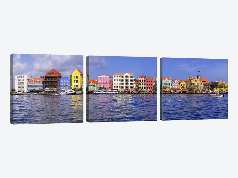 Waterfront Property, Willemstad Harbour, Curacao, Lesser Antilles by Panoramic Images 3-piece Canvas Art