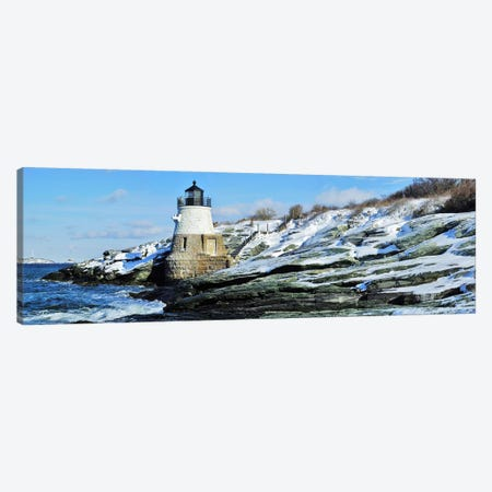 Castle Hill Lighthouse In Winter, Narraganset Bay, Newport, Rhode Island, USA Canvas Print #PIM5693} by Panoramic Images Art Print