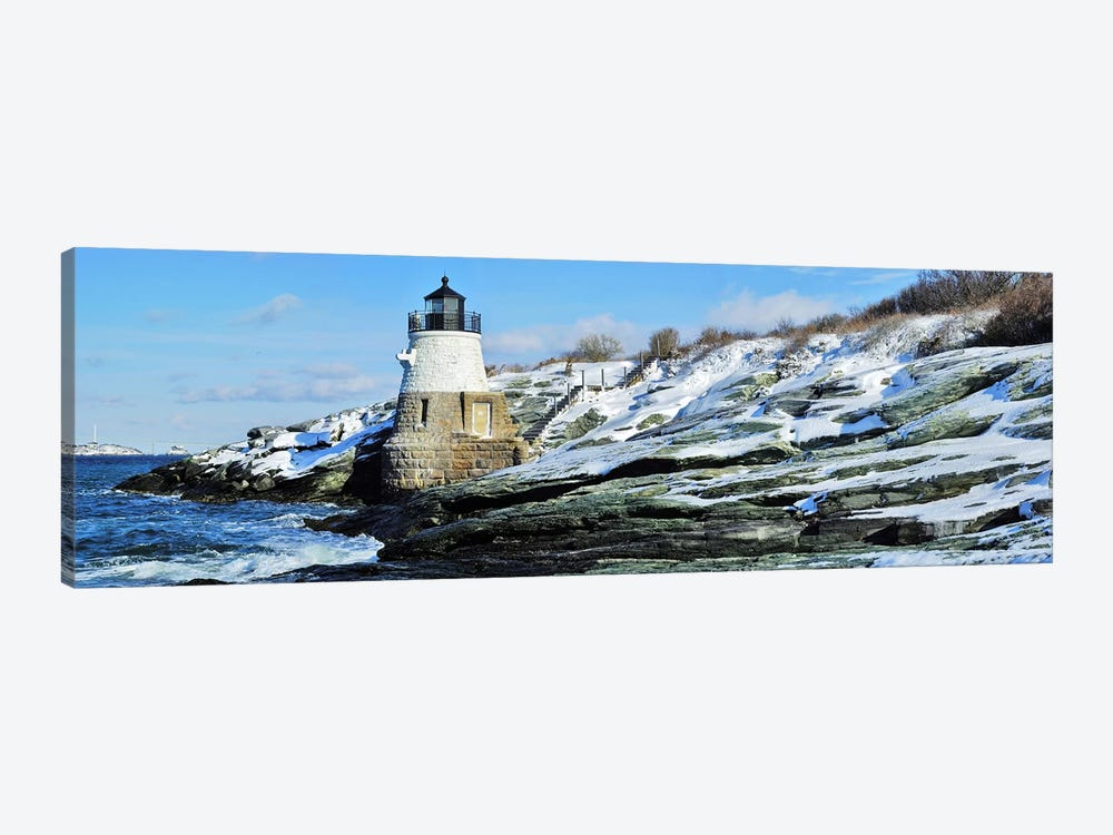 Castle Hill Lighthouse In Winter, Narraganset Bay, Newport, Rhode Island, USA by Panoramic Images 1-piece Canvas Artwork