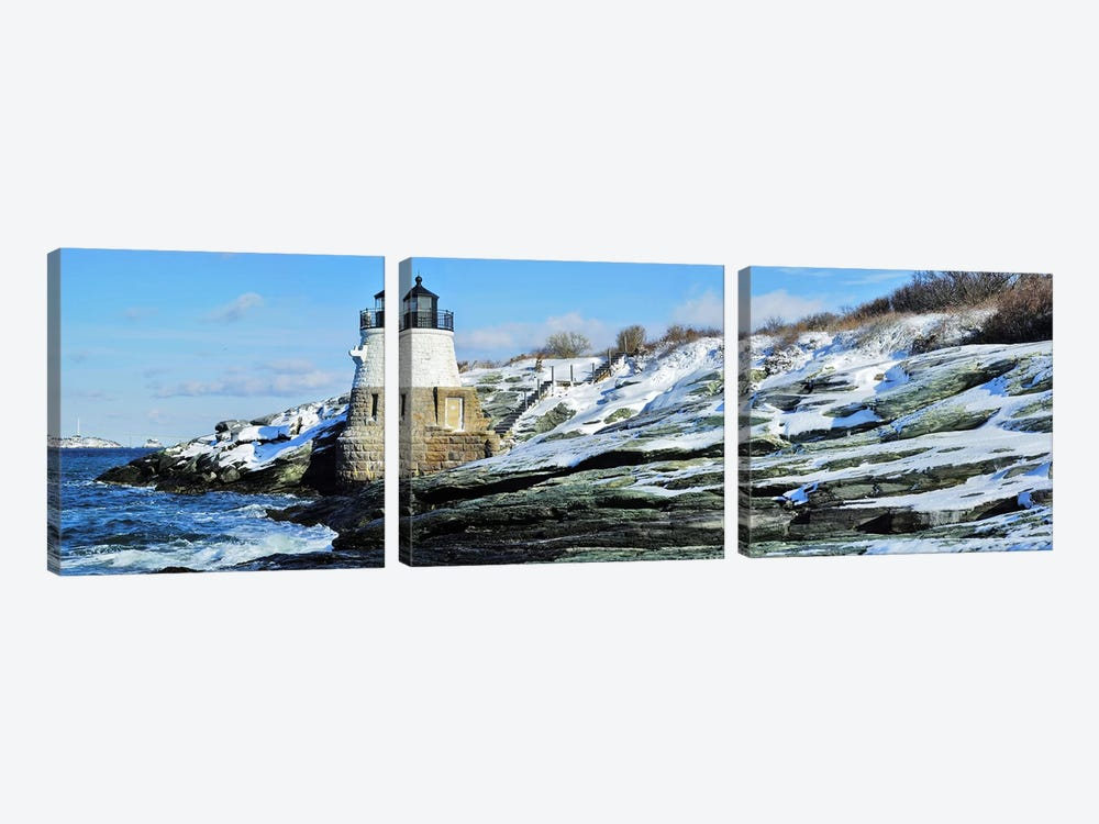 Castle Hill Lighthouse In Winter, Narraganset Bay, Newport, Rhode Island, USA by Panoramic Images 3-piece Canvas Wall Art