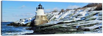 Castle Hill Lighthouse In Winter, Narraganset Bay, Newport, Rhode Island, USA Canvas Art Print