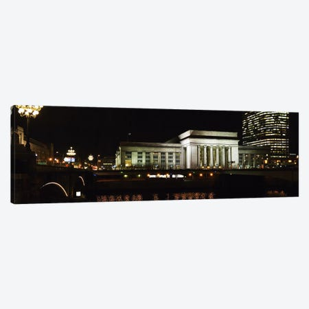 Buildings lit up at night at a railroad station, 30th Street Station, Schuylkill River, Philadelphia, Pennsylvania, USA Canvas Print #PIM5694} by Panoramic Images Canvas Artwork