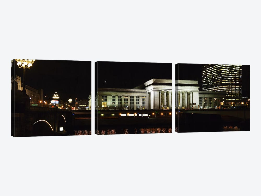 Buildings lit up at night at a railroad station, 30th Street Station, Schuylkill River, Philadelphia, Pennsylvania, USA by Panoramic Images 3-piece Art Print