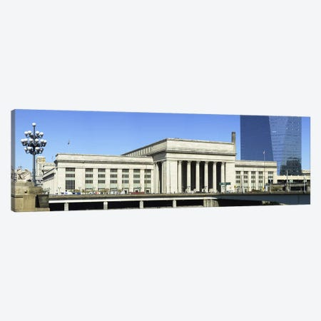 Facade of a building at a railroad station, 30th Street Station, Schuylkill River, Philadelphia, Pennsylvania, USA Canvas Print #PIM5695} by Panoramic Images Canvas Art