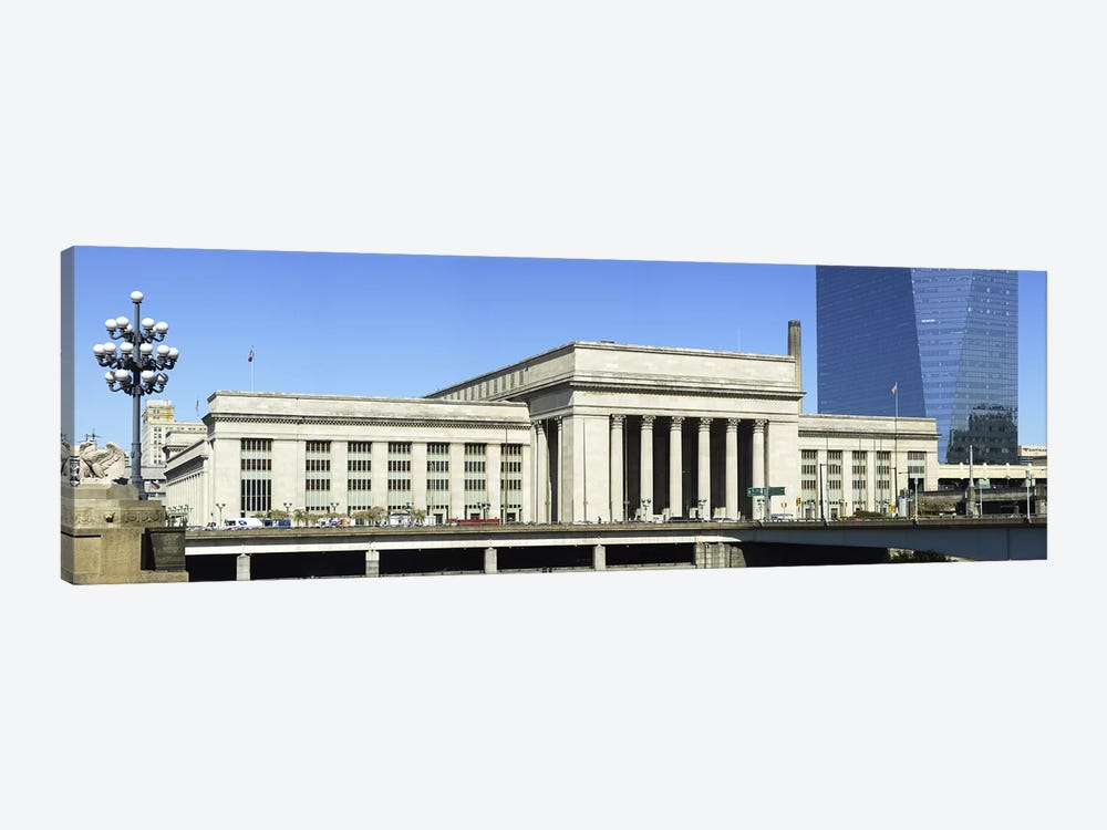 Facade of a building at a railroad station, 30th Street Station, Schuylkill River, Philadelphia, Pennsylvania, USA by Panoramic Images 1-piece Canvas Artwork