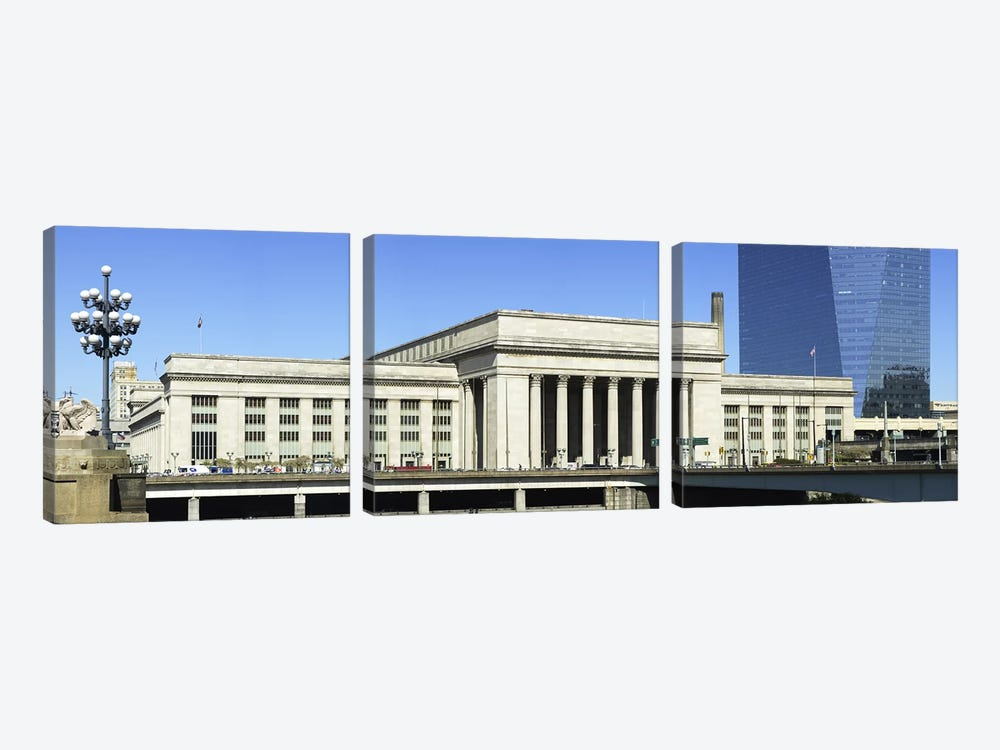 Facade of a building at a railroad station, 30th Street Station, Schuylkill River, Philadelphia, Pennsylvania, USA by Panoramic Images 3-piece Canvas Artwork