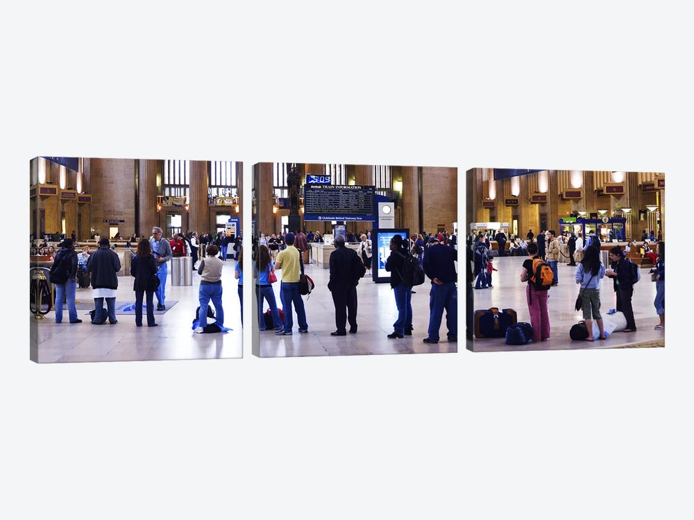People waiting in a railroad station, 30th Street Station, Schuylkill River, Philadelphia, Pennsylvania, USA by Panoramic Images 3-piece Canvas Print