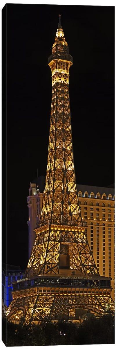Replica of the Eiffel Tower lit up at night, Paris Las Vegas, Las Vegas, Nevada, USA Canvas Print #PIM5699