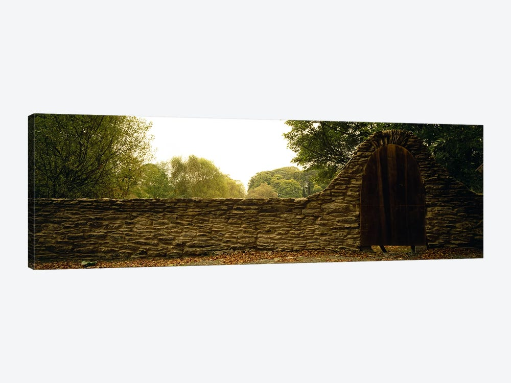 Wooden Door In An Arch Along A Stone Wall, County Kilkenny, Leinster Province, Republic Of Ireland 1-piece Canvas Art Print