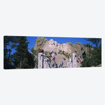 Mount Rushmore National Memorial With The Avenue Of Flags, South Dakota, USA Canvas Print #PIM5709} by Panoramic Images Art Print