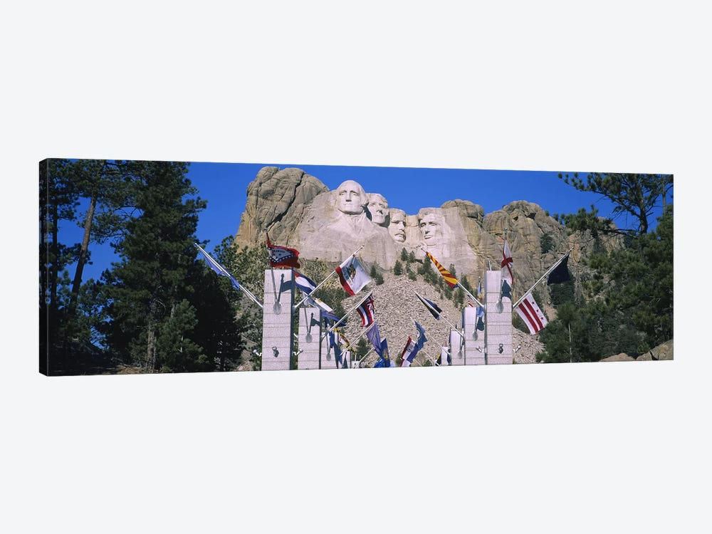 Mount Rushmore National Memorial With The Avenue Of Flags, South Dakota, USA by Panoramic Images 1-piece Canvas Art
