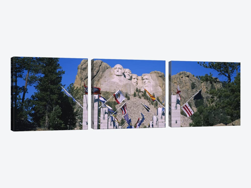 Mount Rushmore National Memorial With The Avenue Of Flags, South Dakota, USA by Panoramic Images 3-piece Canvas Wall Art