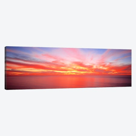 Fiery Glowing Sunset Over The Pacific Ocean Canvas Print #PIM570} by Panoramic Images Canvas Wall Art