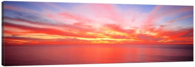 Fiery Glowing Sunset Over The Pacific Ocean Canvas Print #PIM570