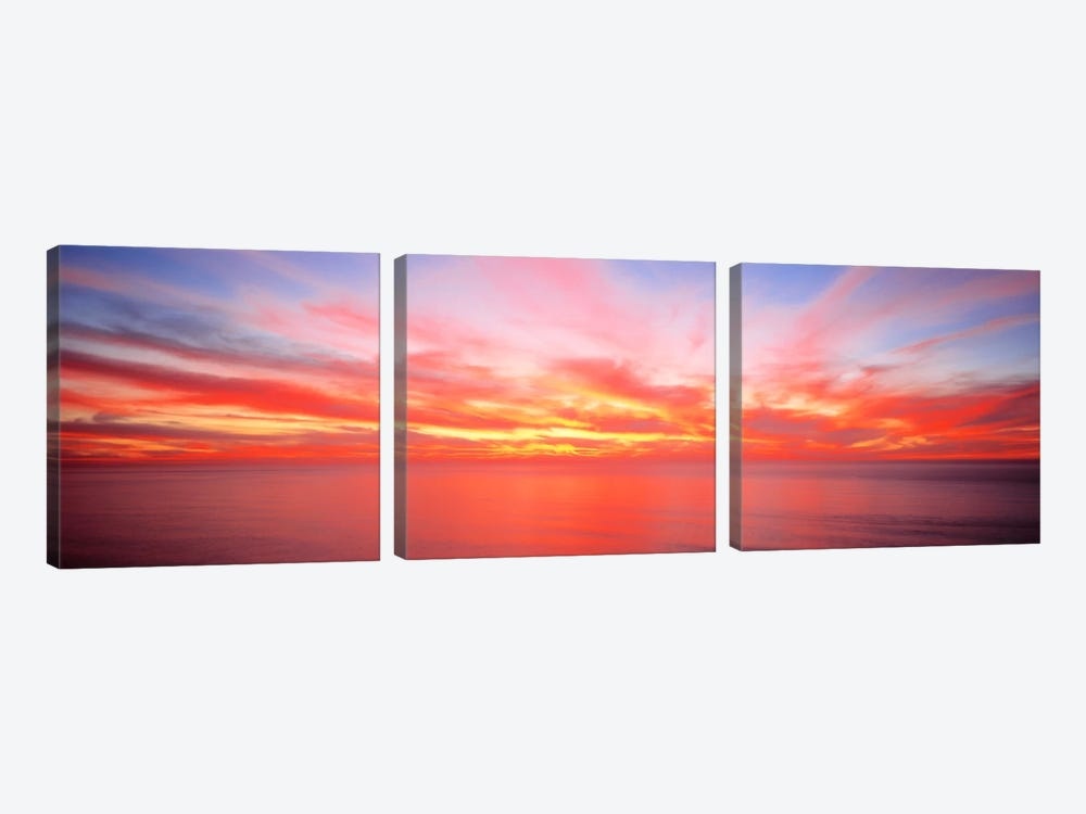 Fiery Glowing Sunset Over The Pacific Ocean 3-piece Canvas Print