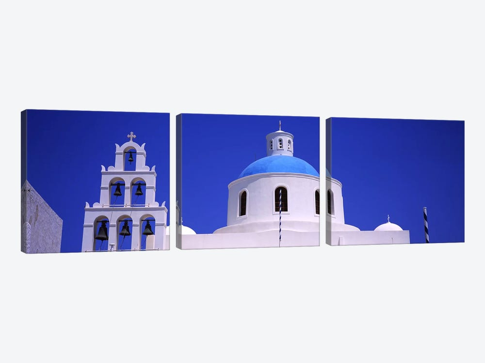 High section view of a churchOia, Santorini, Greece by Panoramic Images 3-piece Canvas Wall Art