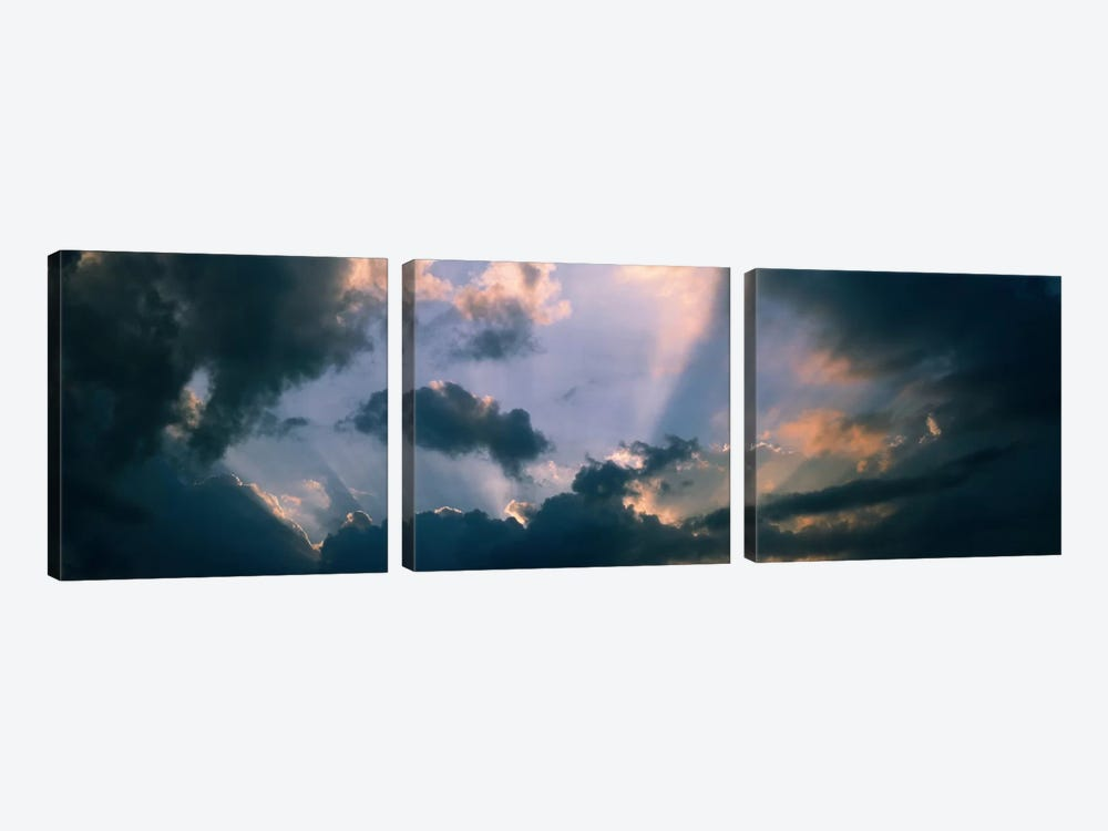 Clouds With God Rays by Panoramic Images 3-piece Canvas Wall Art