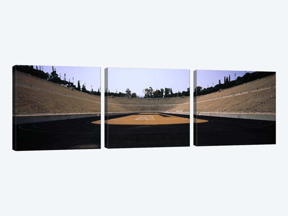 Interiors of a stadiumOlympic Stadium, Athens, Greece by Panoramic Images 3-piece Canvas Art Print