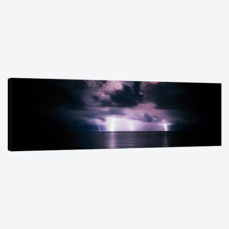 Purple Sky & Lightning Bolts Over The Gulf Of Mexico Canvas Print #PIM574} by Panoramic Images Canvas Print