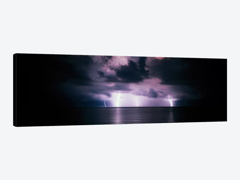 Purple Sky & Lightning Bolts Over The Gulf Of Mexico by Panoramic Images 1-piece Art Print