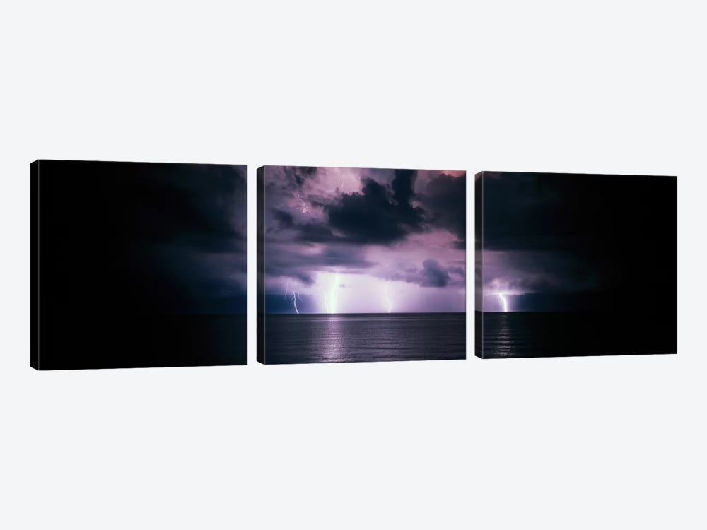 Purple Sky & Lightning Bolts Over The Gulf Of Mexico by Panoramic Images 3-piece Art Print